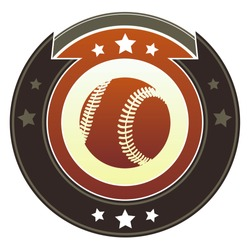 Baseball icon on round red and brown imperial vector button with star accents