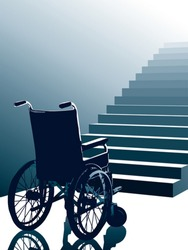Empty wheelchair and stairs, vector
