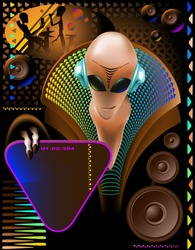 party club invitation flyer with cool Alien disc-jockey and eletric triangle sign