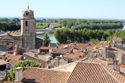 View of the Saint Julien church from the amphitheater in Arles, France
