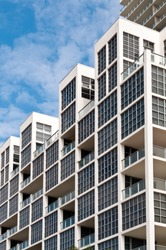 Detail of windows in high-rise building in Miami. Real Estate picture.