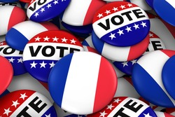 France Elections Concept - French Flag and Vote Badges 3D Illustration