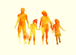 A young happy family walking together. Watercolour vector illustration.
