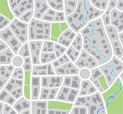 vector city or small town map with roads, streets, buildings, abstract drawing illustration