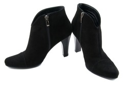 Suede female boots are more black