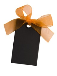 black tag with orange bow isolated on white