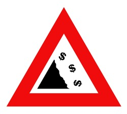 Falling dollar currency sign in red warning triangle, isolated on white background.