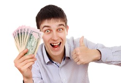 Happy Teenager with a Money on the White Background
