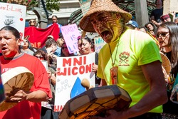 Drums and songs during the rally in solidarity with Standing Rock and against the Dakota Access Pipe Line. Portland, OR, 9/9/2016.