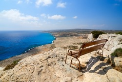 Bench with a view over Mediterranean Sea. Cape Greco, Northern Cyprus