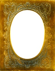 Antique gold colored metal embossed frame. Lots of grunge details intact.