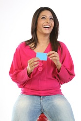 Beautiful woman with blank card