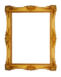 old antique gold frame over white background