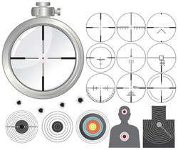 Shooting kit-targets,cross-hairs,dummies,guns sight-separated vector objects