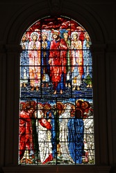 Birmingham in West Midlands, England. Stained glass in the Saint Philip Cathedral. The Ascension window (1885) by Edward Burne-Jones.