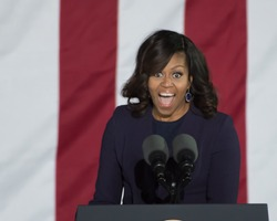 PHILADELPHIA, PA - NOVEMBER 7, 2016: Michelle Obama smiling. The First Lady of the US delivers a speech at a campaign rally for Hillary Clinton the Democratic Presidential nominee.