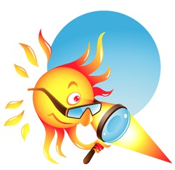 Vector summer sun using his burning glass to heat some surface or produce sunburn