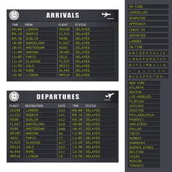 Vector Flight Information board showing delayed flights. JPG and TIFF image versions of this vector illustration are also available in my portfolio.