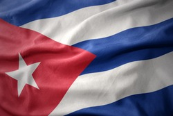 waving colorful national flag of cuba.