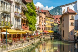 ANNECY,FRANCE - SEPTEMBER 2,2016 - In the streets of Annecy. Annecy is the largest city of Haute Savoie department in the Auvergne Rhone Alpes region in southeastern France.