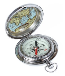 Silver vintage compass, isolated on white