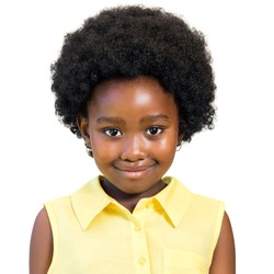 Close up portrait of little african girl with afro hairstyle isolated on white background.