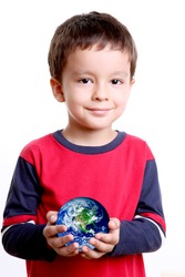 Child with planet in his hands, over white background