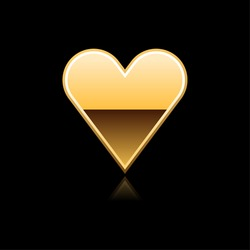 Gold metal glossy web button heart with reflection on black
