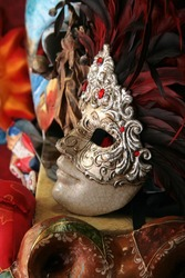 Venice: Lovely traditional carnival mask with feathers.