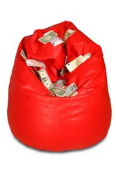 Red colored bean bag with assorted currency notes