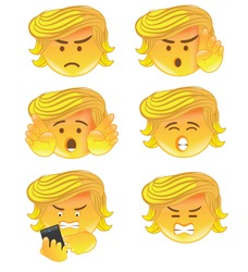 DECEMBER 20, 2016: Illustrative editorial cartoon; a set of Donald Trump emoticons with Trump varying emotions, angry, speaking, texting. EPS 10 vector.