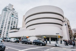 NEW YORK - DEC 3: The Solomon R. Guggenheim Museum of modern and contemporary art. Designed by Frank Lloyd Wright museum opened on October 21,1959. On DEC 3, 2016 in New York City, USA