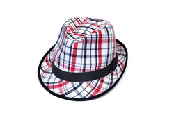 a checked hat isolated on a white background