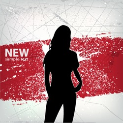 abstract girl silhouette grunge background