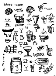 hand drawn set of drinks