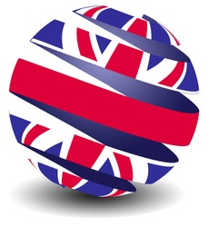 UK flag in a peeling sphere