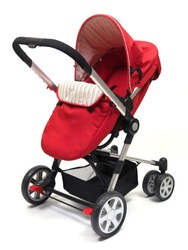A modern pram isolated against a white background