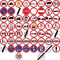 Road signs in Poland. Prohibitory signs. Vector Format