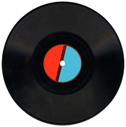 retro vinyl 78 rpm audio record with scratches, red and blue label, clipping path isolated on white background. Coal texture closeup, nostalgia details.
