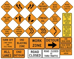 Road signs in the United States. Work Zones, Barricades, Road Work, Blasting Zones, Slow Traffic, Lane Shifts, Oncoming Traffic Has Extended Green. Vector Format