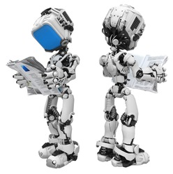 Small 3d robotic figure, over white, isolated