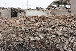 Pile of debris of a destroyed building