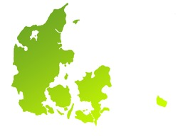 Green gradient map of Denmark isolated on a white background.
