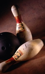 Bowling pins and ball selelctive focus