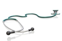 Image of a 3D stethoscope isolated on a white background.