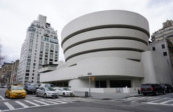 NEW YORK CITY, NY -26 JAN 2017- The Solomon R. Guggenheim museum is an art museum located on Fifth Avenue in Manhattan. The cylindrical building was designed by architect Frank Lloyd Wright.