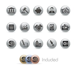 Business & Finance // Metal Round Series --- It includes 4 color versions for each icon in different layers.---