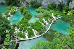 One of the travertine features at the UNESCO listed Plitvice lakes national park in Croatia