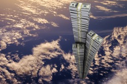 The Tower of reams of dollars aspirations in heaven. The symbol of financial success