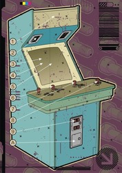 Light blue arcade machine on a mauve screw background.